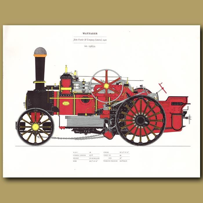 Antique print. Steam Engine Wayfarer 1920