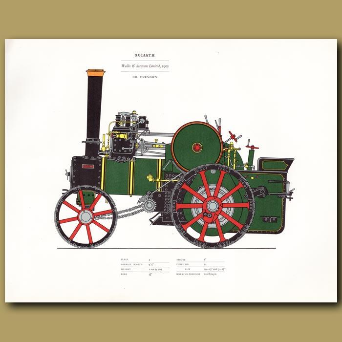 Antique print. Steam Engine Goliath 1902