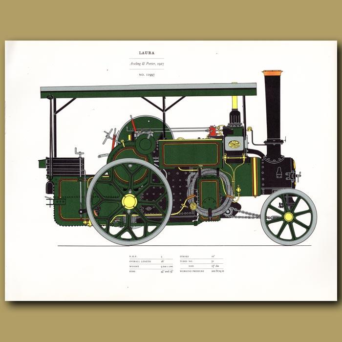 Antique print. Steam Engine Laura 1927