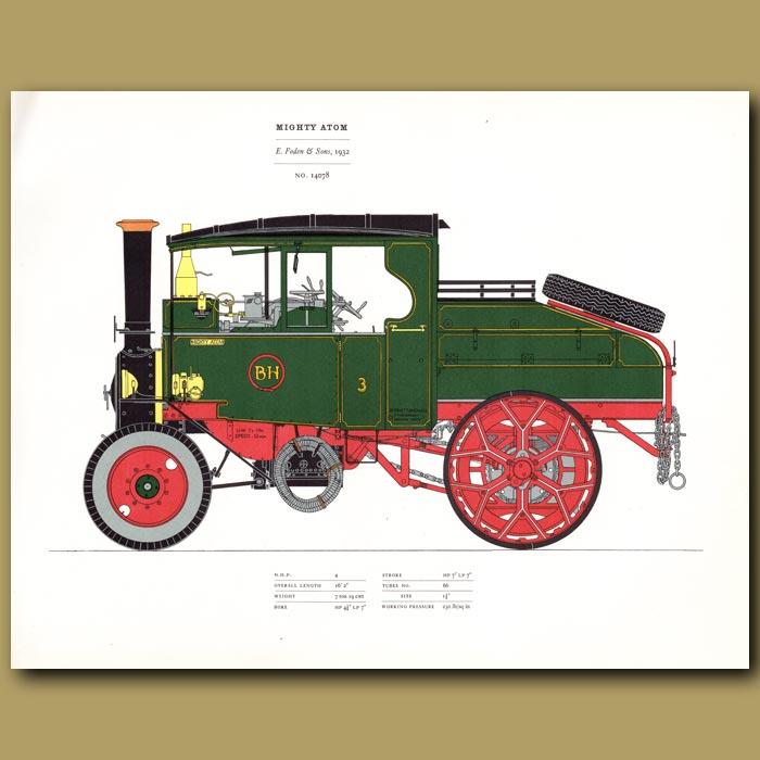 Antique print. Steam Engine Mighty Atom 1932