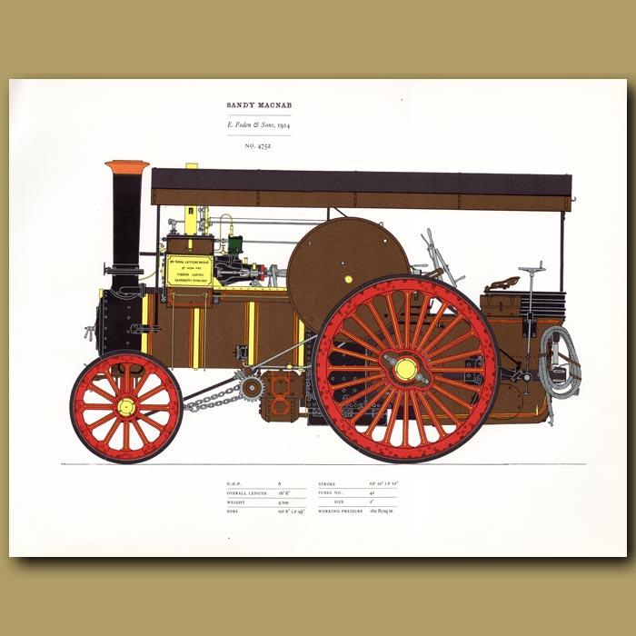 Antique print. Steam Engine Sandy McNab 1914