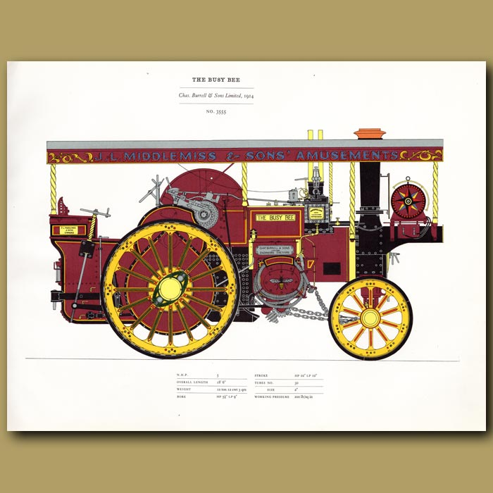Antique print. Steam Engine The Busy Bee 1914