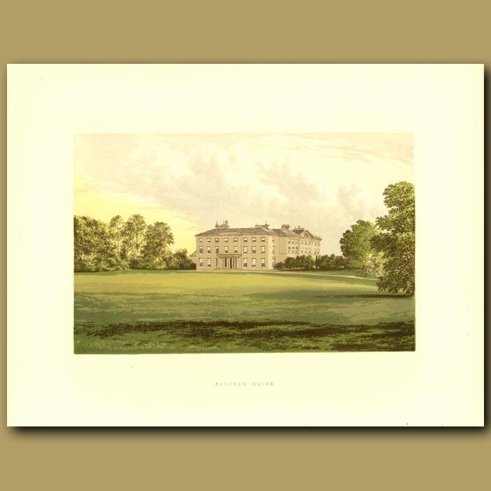 Antique print. Farnham House: Lord Farnham