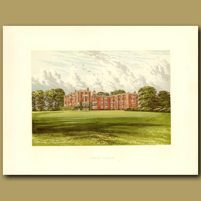 Antique print. Temple Newsam: The Meynell-Ingram Family