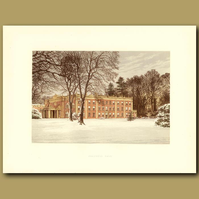 Antique print. Cranbury Park: The Chamberlayne Family