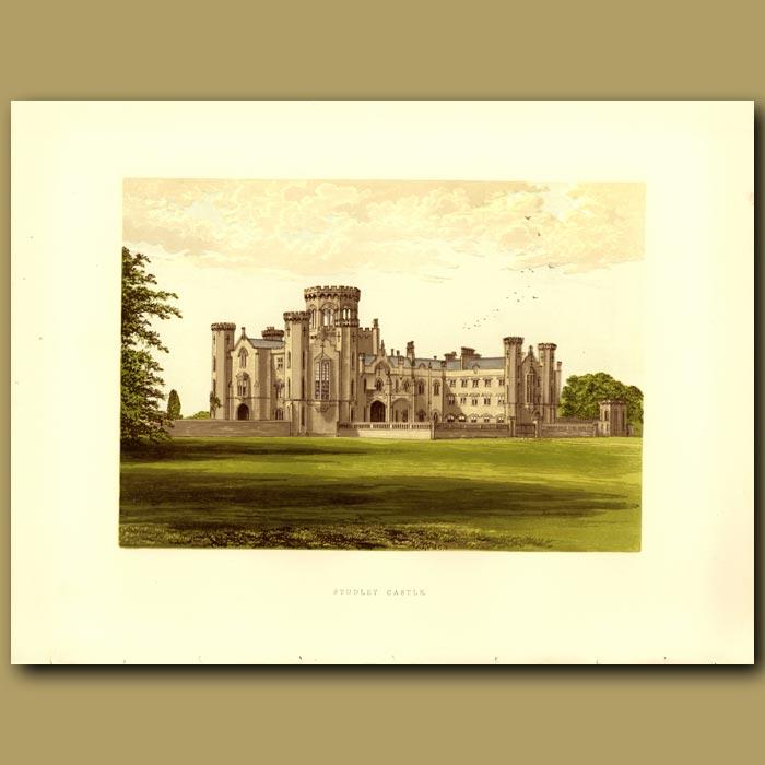 Antique print. Studley Castle: Walker