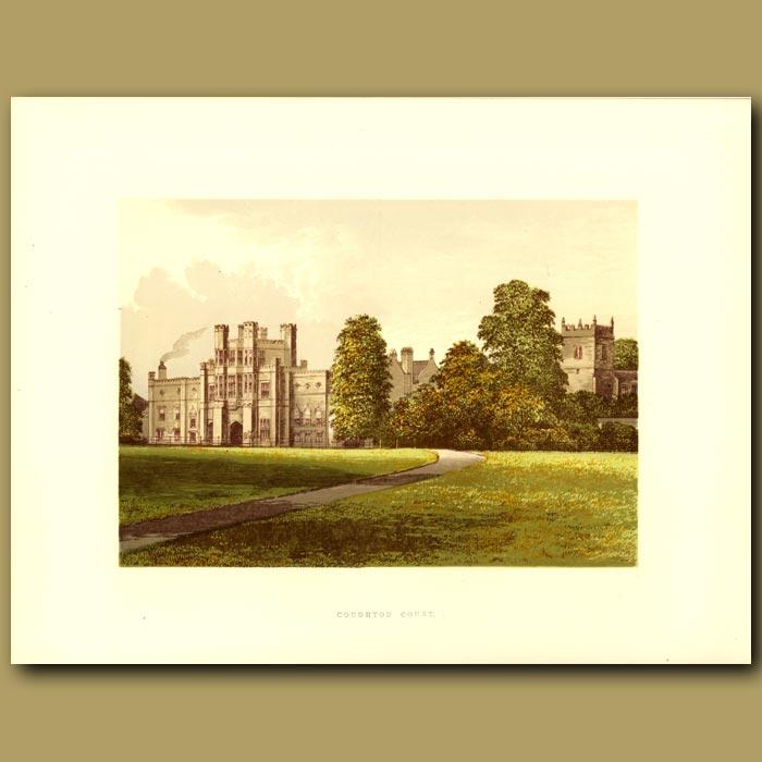 Antique print. Coughton Court: Throckmorton, Baronet