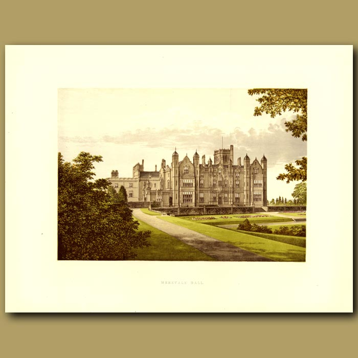 Antique print. Merevale Hall: Dugdale