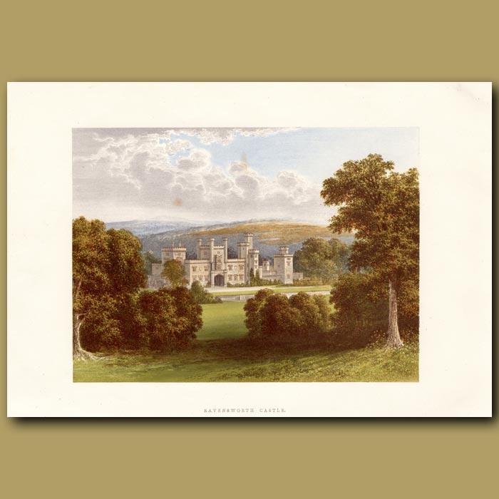 Antique print. Ravensworth Castle