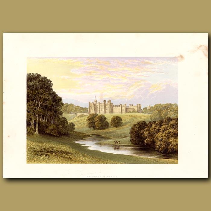 Antique print. Brancepeth Castle