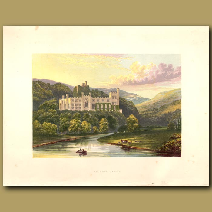Antique print. Arundel Castle: Dukes of Norfolk