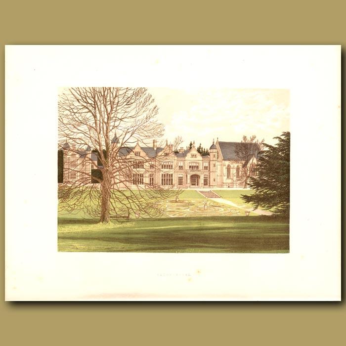 Antique print. Exton House: Earls of Gainsborough
