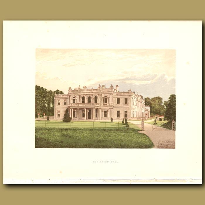 Antique print. Rolleston Hall: Mosley Family