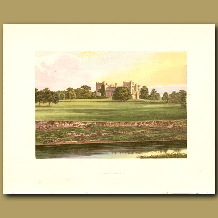 Antique print. Lumley Castle: Earl of Scarborough