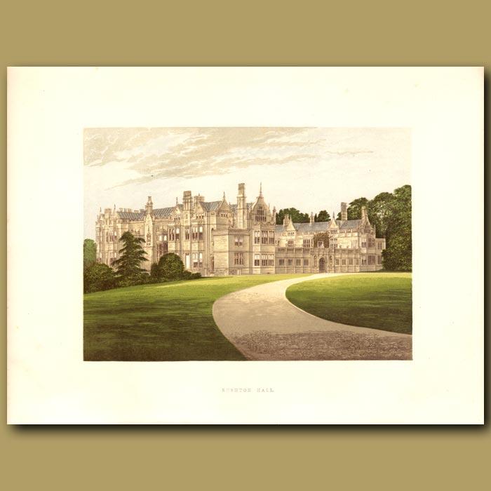 Antique print. Rushton Hall: Clarke-Thornhill Family