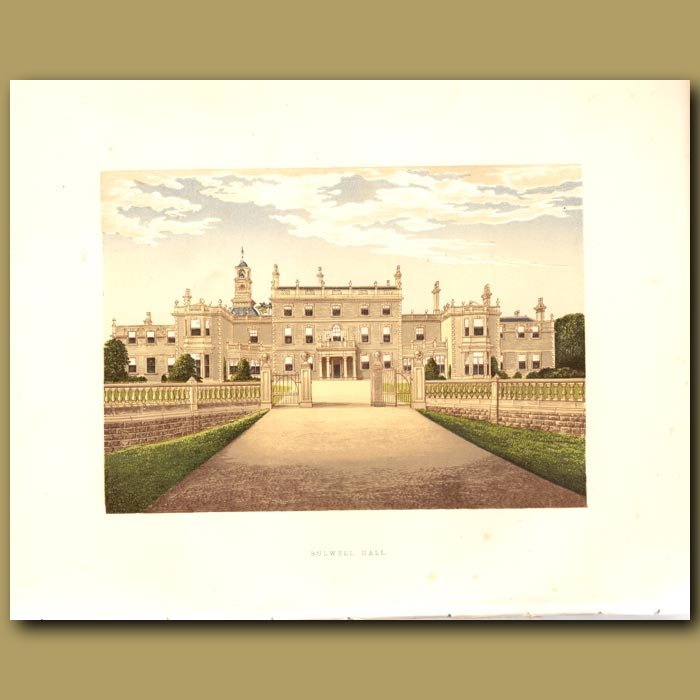 Antique print. Bulwell Hall: Cooper Family