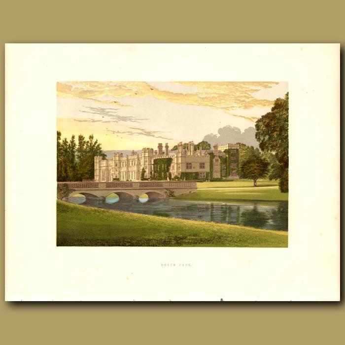 Antique print. Deene Park: Countess of Cardigan