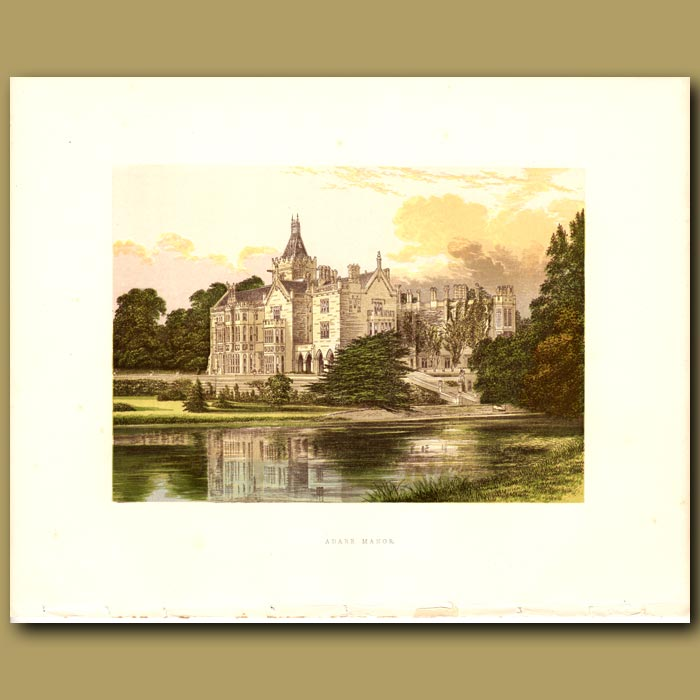 Antique print. Adare Manor: Earl of Dunraven