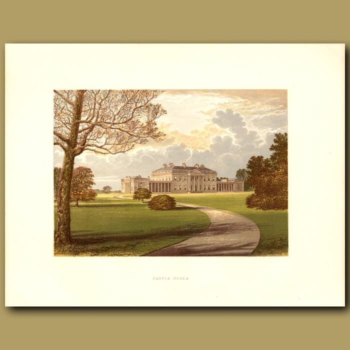 Antique print. Castle Coole: Earl of Belmore