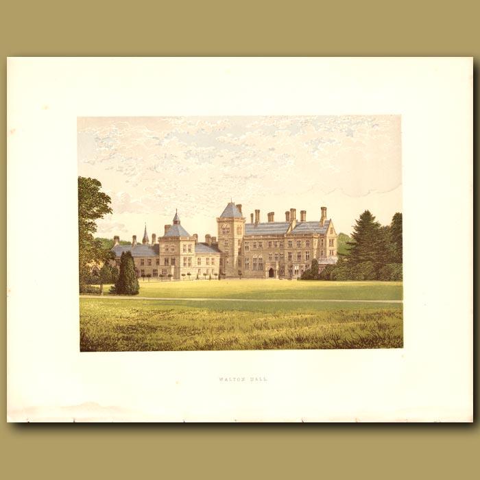 Antique print. Walton Hall: Baronet Mordaunt