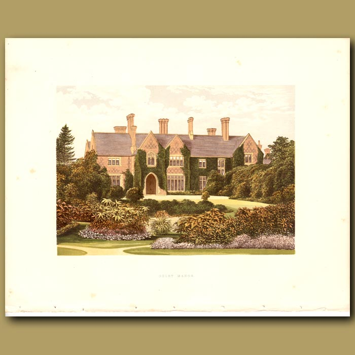 Antique print. Oxley Manor: Staveley-Hill Family