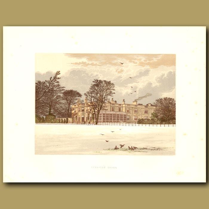 Antique print. Ednaston Lodge: Kingdon Family