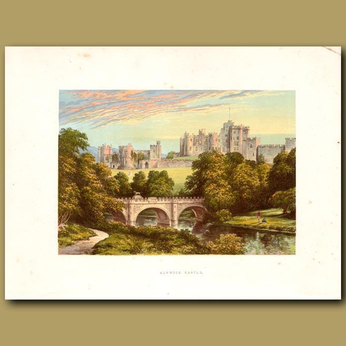 Antique print. Alnwick Castle