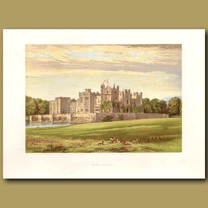 Antique print. Raby Castle