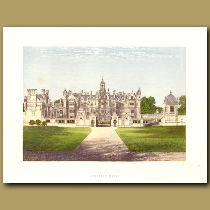 Antique print. Harlaxton Manor