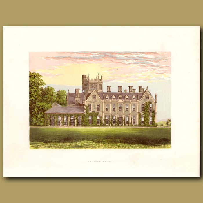 Antique print. Melbury House