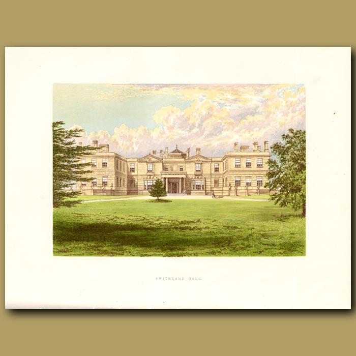 Antique print. Swithland Hall