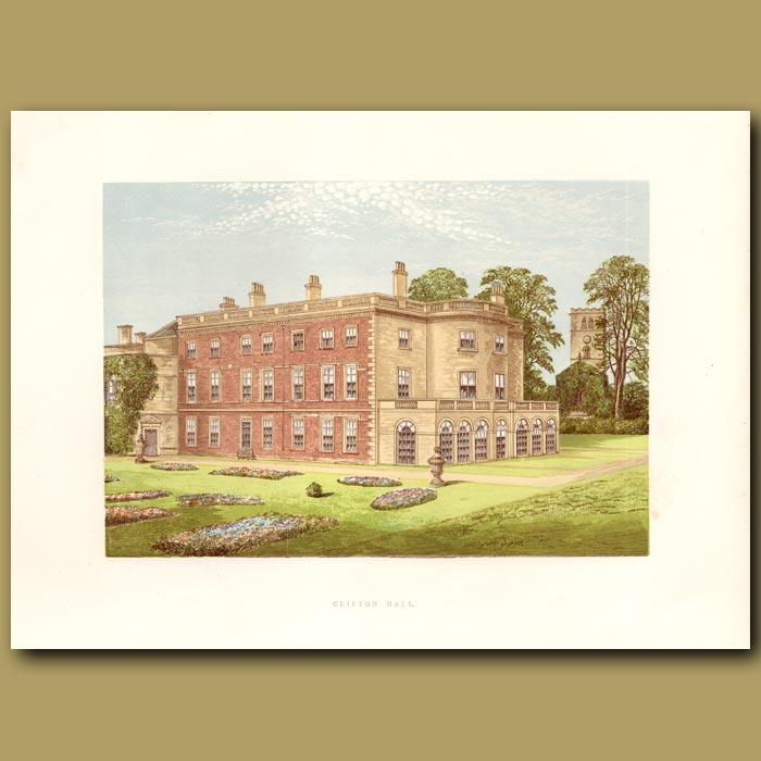 Antique print. Clifton Hall
