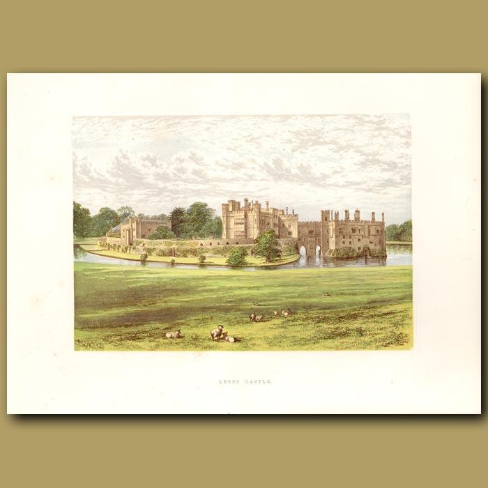 Antique print. Leeds Castle