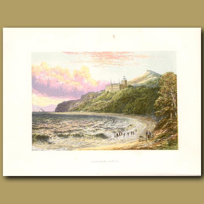 Antique print. Dunrobin Castle