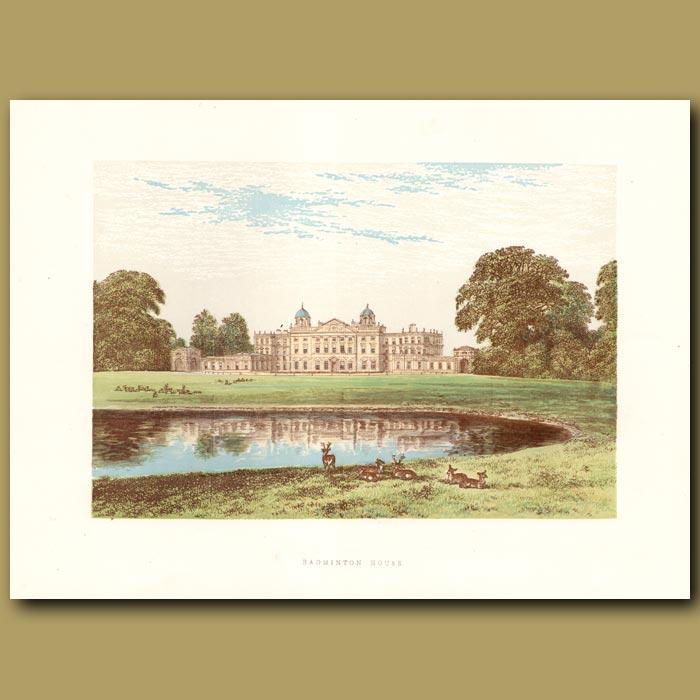 Antique print. Badminton House
