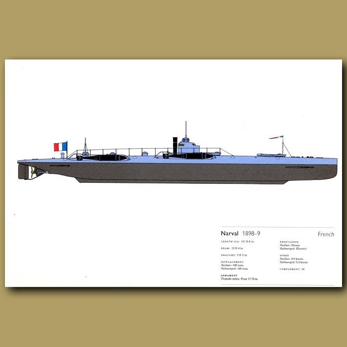 Antique print. Narval submarine 1898-9