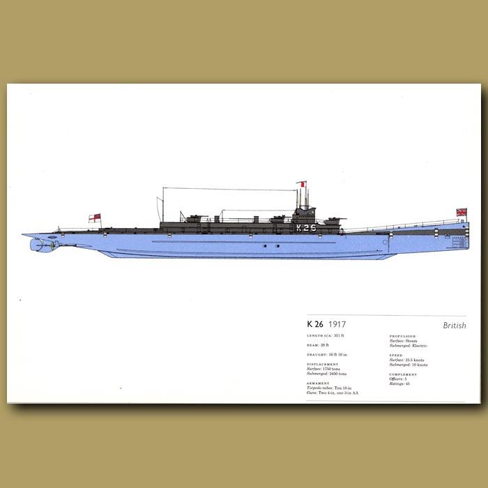 Antique print. K26 submarine 1917