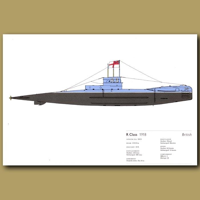 Antique print. R Class submarine 1918