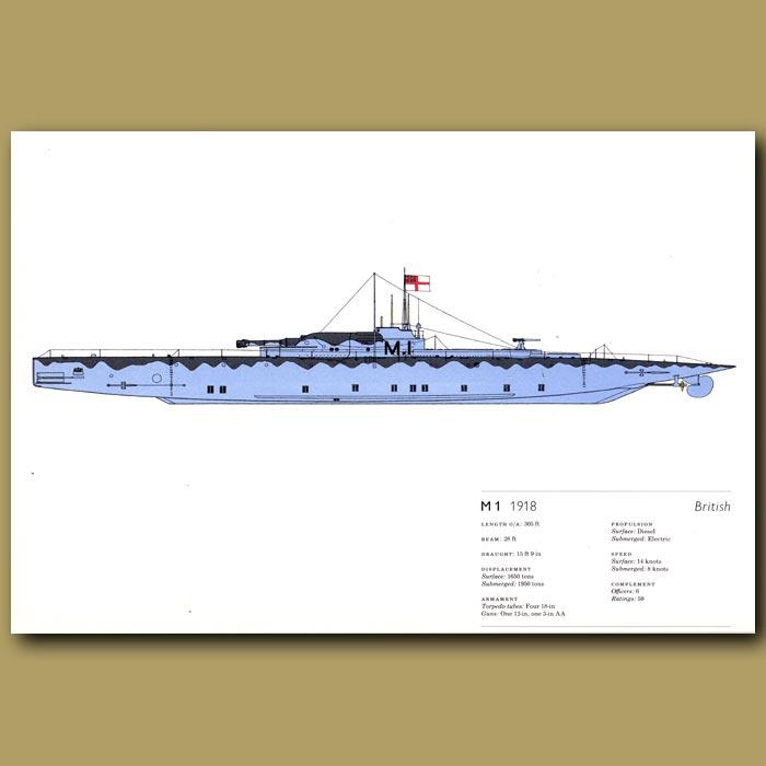 Antique print. M1 submarine 1918