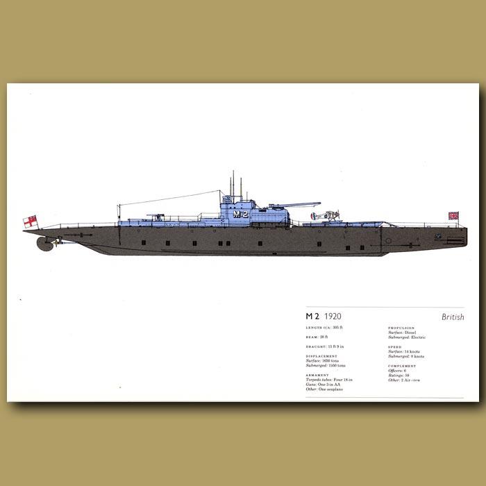 Antique print. M2 submarine 1920