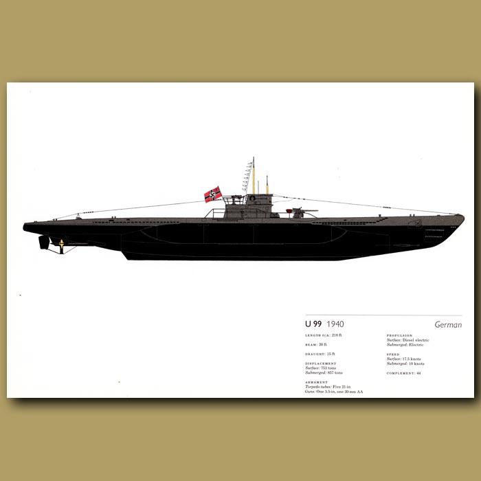 Antique print. U99 submarine 1940