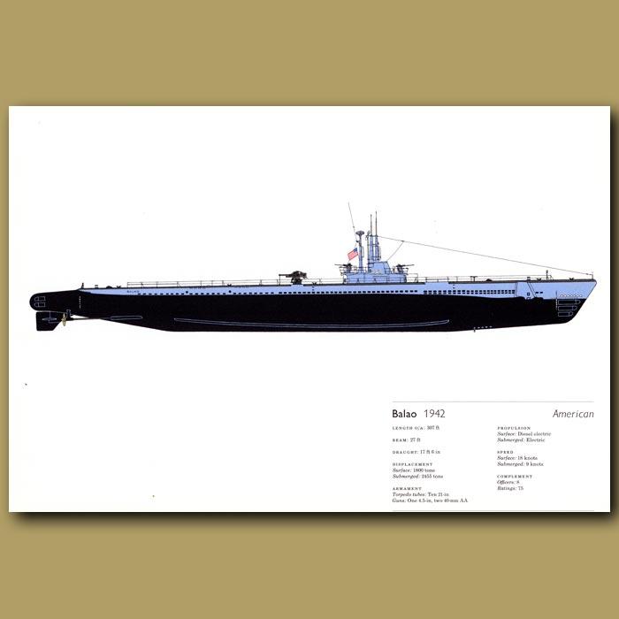 Antique print. Balao submarine 1942