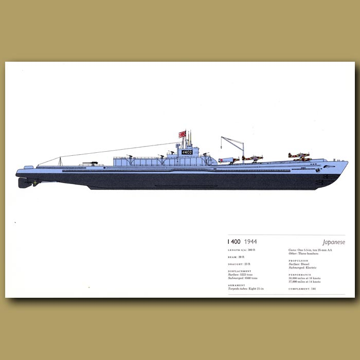 Antique print. Japanese 1 400 submarine 1944