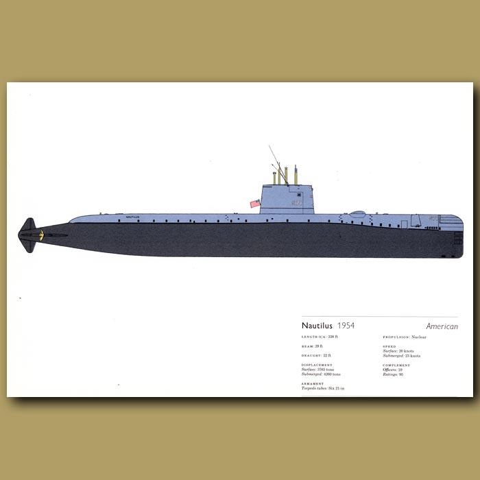 Antique print. Nautilus submarine 1954