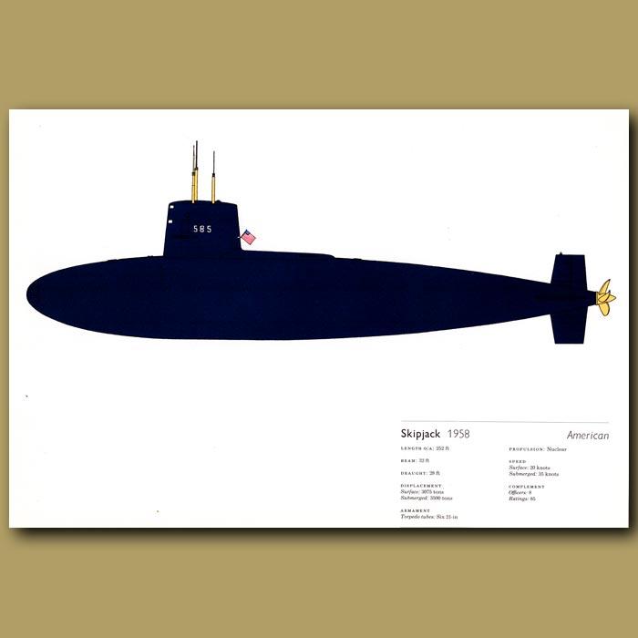 Antique print. Skipjack submarine 1958