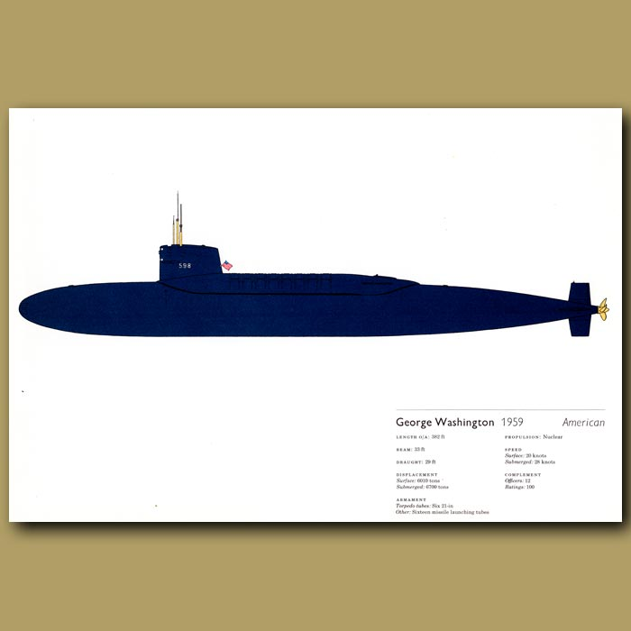Antique print. George Washington Submarine 1959