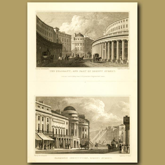 Antique print. The Quadrant And Part Of Regent Street And Harmonic Institution, Regent Street