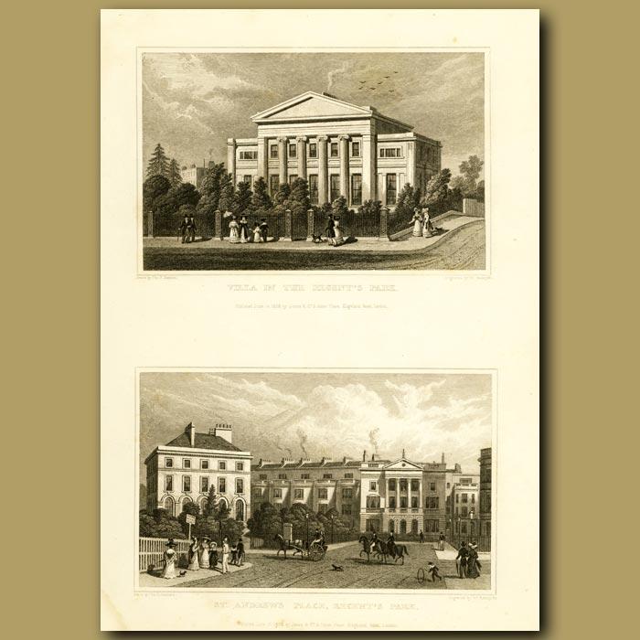 Antique print. Villa And St. Andrew's Place, Regent's Park