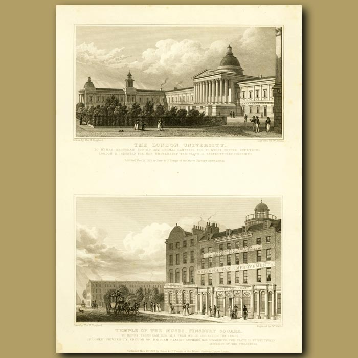 Antique print. The London University And Temple Of The Muses, Finsbury Square