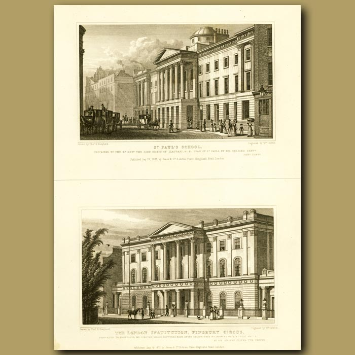 Antique print. St.Paul's School And The London Institution, Finsbury Circus